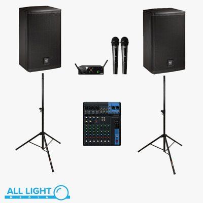 - Electro Voice EV ELX112P - 2 колонки на стойках - Микшерный пульт на 8 каналов - 2 радио микрофона AKG - Проводной микрофон - комплект коммутации